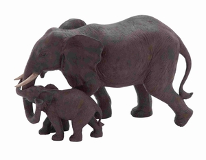 Mother and Baby African Elephant Poly Stone Statue in Loving Embrace - 44722 by Benzara