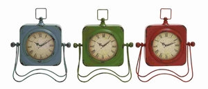 Gliwice Chirpy Bird-Design Multi-colored Table Clock Set Brand Benzara