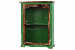 Glorious Green Wooden Antique Storage Cabinet