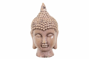 Glossy and Serene Carved Brown Buddha Head