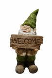 Gnome with Welcome Sign Statue by Alpine Corp