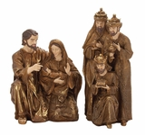 "Gold Colored Polystone Nativity Figures Set of 2 24"",29""H by Woodland Import"