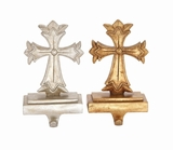 "Gold & Silver Set of 2 Cross Shaped Polystone Stocking Holder Assorted 5""W, 9""H by Woodland Import"