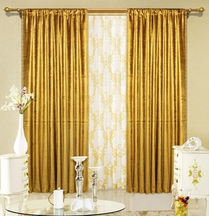 "Gold Velvet Window Theater Curtain Drape 108"" by Maifa"