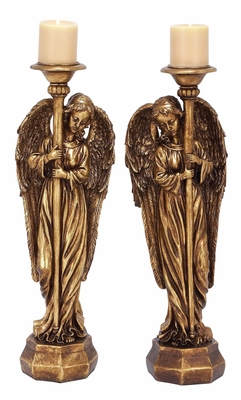 Golden Angel Candle Holders 2 Assorted Holiday Decor