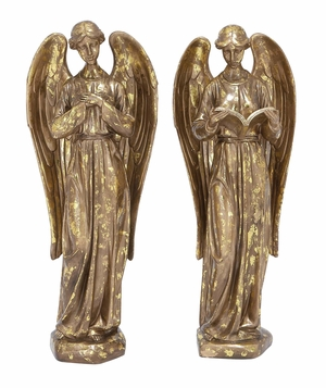 Golden Angel Statue Holiday Decor Set of 2 Holiday Decor