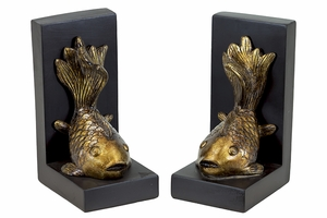 Golden Fish Enthralling Unique Resin Bookend by Urban Trends Collection