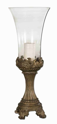 Golden Hurricane Candle Holder With Clear Glass Globe and Gray Patina Brand Uttermost
