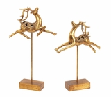 "Golden Polystone Prancing Reindeer Final Set of 2 18"", 15""H by Woodland Import"