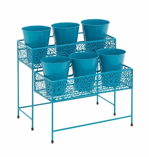 Good-Looking Styled Metal 2 Tier Plant Stand Green by Woodland Import