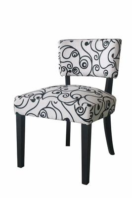 Gorgeous Black and White Swirl Designed Accent Chair by 4D Concepts