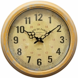 Gorgeous Circular Yellow Iron Wall Clock with glass by Yosemite Home Decor