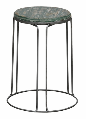 Gorgeous Green Metallic Geary Round Stool