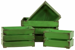 Gorgeous Green Useful Set of Three Wooden Storage Boxes by Urban Trends Collection