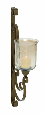 Gorgeous Indian Metal Glass Wall Candle Sconce by Woodland Import