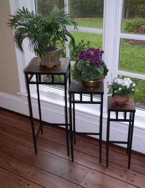 Gorgeous Slate Top Black Metallic Plant Stands by 4D Concepts