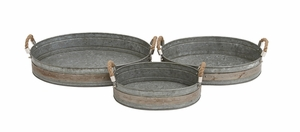 Gorgeous Styled Metal Galvanized Tray by Woodland Import