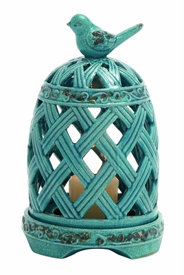 Graceful Zhangye Ceramic Birdcage Candle Holder by Woodland Import