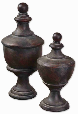 Gracelyn Style Antiqued Rooftop Finial With Mahogany Undertones Brand Uttermost