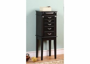 Granada 5 Drawer Jewelry Armoire with Sharp Edges in Wood Finish Brand Nathan