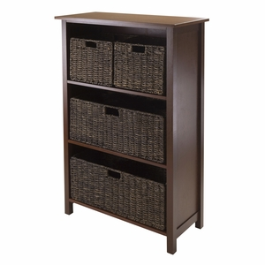 Winsome Wood Grand and Elegant Granville 5pc Storage Shelf with 4 Baskets