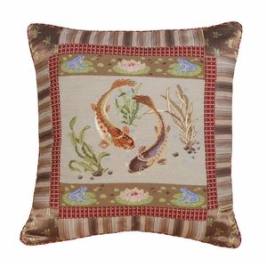 """Grand and Gorgeous Koi Petit Point Pillow 22x22"""" by 123 Creations"""
