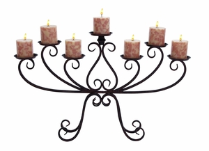 Grand Candelabra - Seven Candle Centerpiece With Iron Alloy Brand Woodland