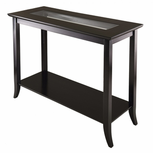 Grand Genoa Rectangular Console Table with Glass top and Shelf by Winsome Woods
