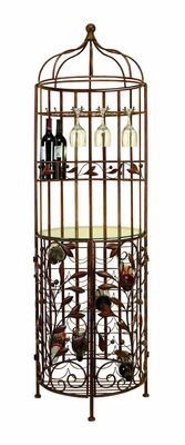 "Grand Metal Floor Wine Rack Wine Glass Holder 72""H Brand Woodland"