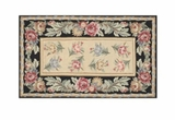 Grand Rose With Black Border Hooked Rug by 123 Creations