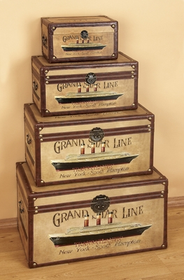 Grand Star Line Cruise Wood Box with Fine Detailing - Set of 4 Brand Woodland