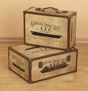 Grand Star Line Cruise Wood Boxes with Fine Detailing - Set of  2 Brand Woodland