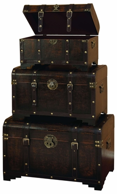 Grandma Classic Leather N Wood Chest Trunk- Old Time Look Brand Woodland