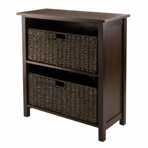 Winsome Wood Granville 3pc Storage Shelf with 2 Foldable Baskets
