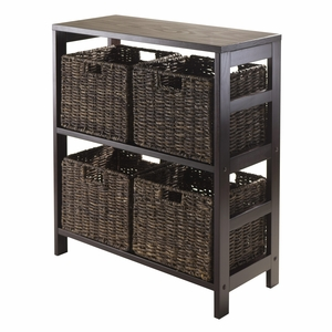 Granville 5pc Storage Shelf with 4 Foldable Baskets, Espresso by Winsome Woods