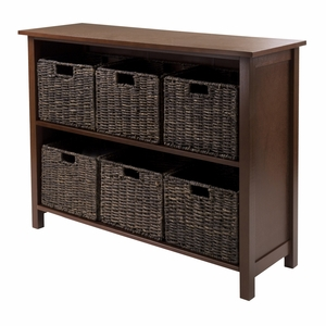 Winsome Wood Granville 7pc Storage Shelf - 2-section Wide With 6 Foldable Baskets