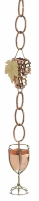 Wine and Glasses Rain Chain - Polished Copper by Good Directions