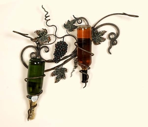 Grape Vineyard Wine Rack Bottle Holder in Metallic Finish Brand Woodland
