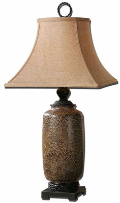 Gravina Antique Chocolate Lamp with Black Metal Details Brand Uttermost