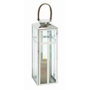 Traditional Style Designer Steel Candle Lantern With Faux Leather Handle - 23606 by Benzara