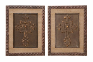 Greek Inspired Wall Decor - Bronze Crucifix Frame Set - Set of 2 Brand Woodland