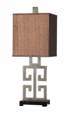 Greek Key Silver Table Lamp with Foot in Matt Black Brand Uttermost