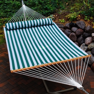 Green and White striped 13' Quick Dry Hammock with Pillow by Alogma