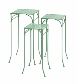 Green Polished Attractive Metal Plant Stand by Woodland Import