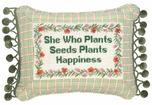 Green She Who Plants Petit-Point Saying Pillow by 123 Creations