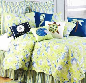 Green Shells Coastal Decor Nautical Quilt Queen  Bedding Ensembles Brand C&F