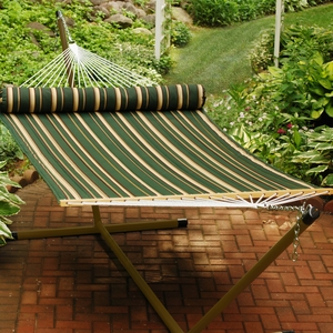 Green, Tan stripe pattern and Tan solid 13' Reversible Quilted Hammock with Matching Pillow by Alogma