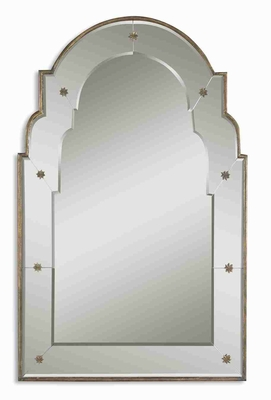 Grella Arched Wall Mirror with a Narrow Gold Flaked Frame Brand Uttermost