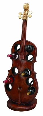 Guitar Jam Wine Rack Bottle Holder Barware in Brown Finish Brand Woodland