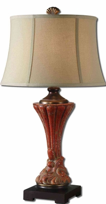 Gustavino Red Table Lamp with Dark Bronze Detailing Brand Uttermost